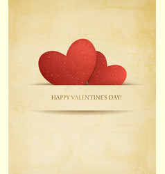 Holiday vintage Valentines day background Two red vector image