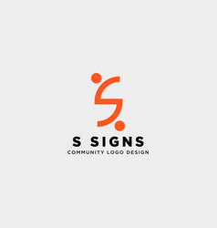 Letter s community human logo template icon vector