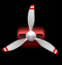 Light airplane with propeller on black vector