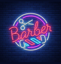 Logo a neon sign for a hairdresser and barbershop vector