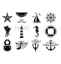 Marine icons set vector