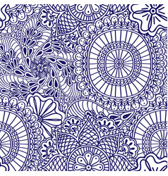Mehendi seamless pattern of blue with white color vector