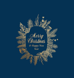 Merry christmas abstract botanical greetings label vector