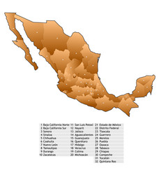 mexico map names vector image