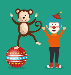 Monkey and clown circus show vector