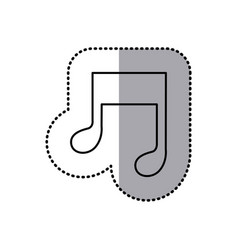 monochrome contour sticker of musical note vector image