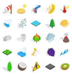Nature activity icons set isometric style vector
