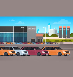 New cars over dealership center showroom building vector