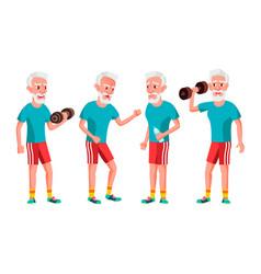 old man poses set elderly people senior vector image