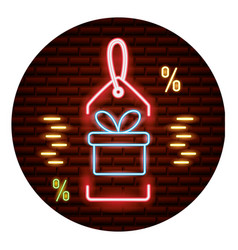 online shopping neon card vector image