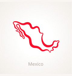 Outline map mexico marked with red line vector