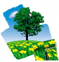 painted nature vector image