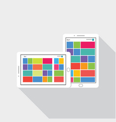 Phone tablet icon with tile user interface vector