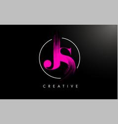 Pink js brush stroke letter logo design pink vector