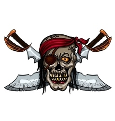 Pirate skull and crossed swords vector