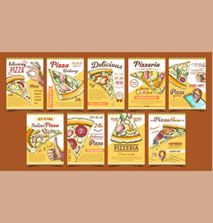 pizzeria collection different posters set vector image