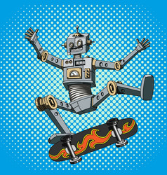 Pop art of a robot on a skateboard vector