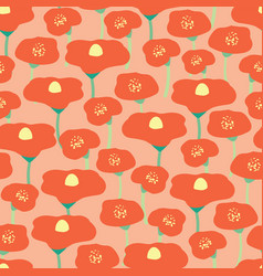 poppy flower field seamless background pink vector image