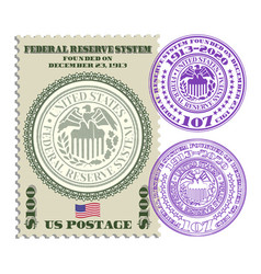 Postage stamp with two purple seals frs vector
