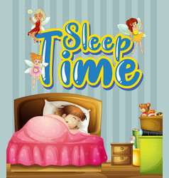 poster design with little girl sleeping in bed vector image