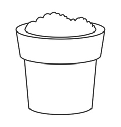 Pot with soil icon vector