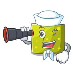 sailor with binocular square mascot cartoon style vector image