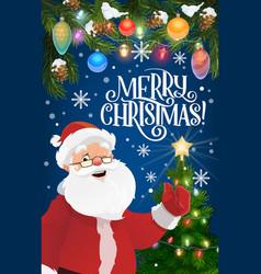 santa claus christmas tree and new year garland vector image