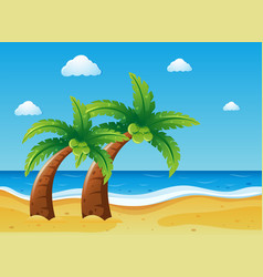 Scene with coconut trees on the beach vector