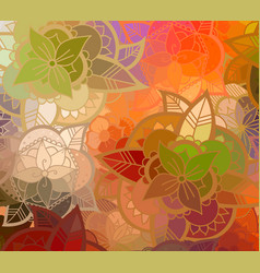 seamless color flower pattern vector image