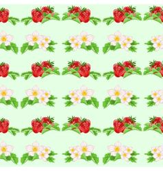 Seamless texture strawberries and flowers vector image