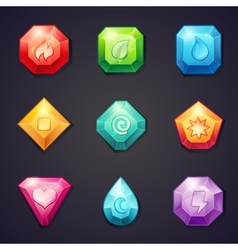 set cartoon colored stones with different signs vector image