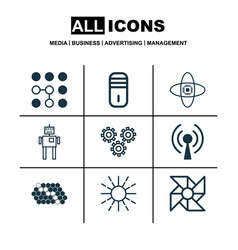 Set of 9 robotics icons includes laptop vector
