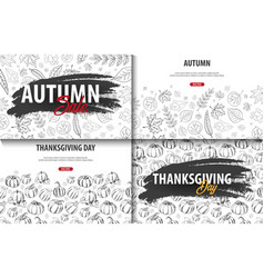 set of autumn backgrounds with hand-draw pumpkins vector image