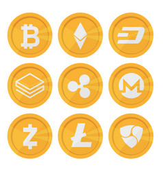 set of cryptocurrency icons for internet money vector image