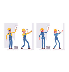 set of male and female worker working with walls vector image