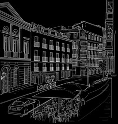 Sketch of the street of madrid vector