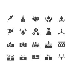 Skin care flat glyph icons set hyaluronic acid vector