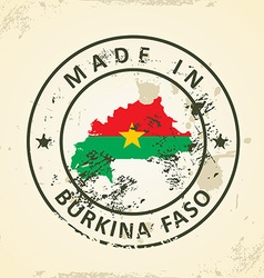 Stamp with map flag of Burkina Faso vector image