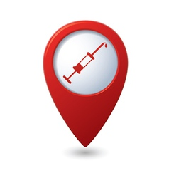 Syringe icon on red map pointer vector