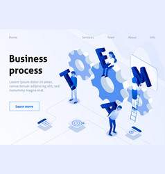 Team building isometric banner business industry vector