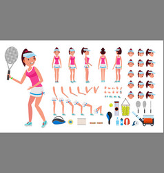 Tennis player female animated character vector