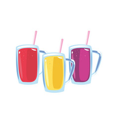 Three cold fresh juices with straw vector