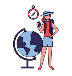traveler woman with mobile clock map vector image