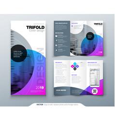 Tri fold brochure design purple corporate vector