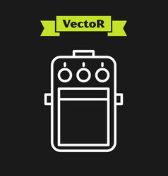 White line guitar pedal icon isolated on black vector