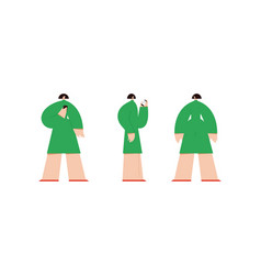 woman in different positions flat design style vector image