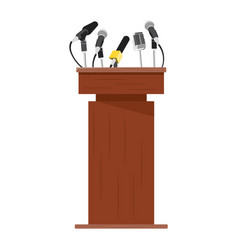 Wooden podium tribune with microphones vector
