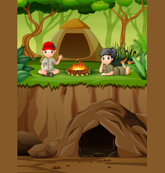 Young scout enjoying near bonfire on camp in summe vector
