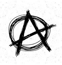 anarchy sign hand drawn sketch textured grunge vector image vector image