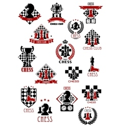 Chess sport game icons emblems and symbols vector image vector image
